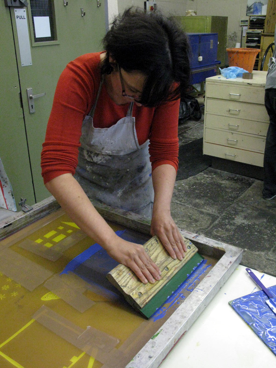 silk screen printing onto glass workshop 2012