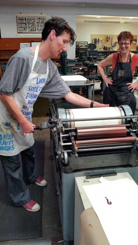 Printing using a Vandercook press