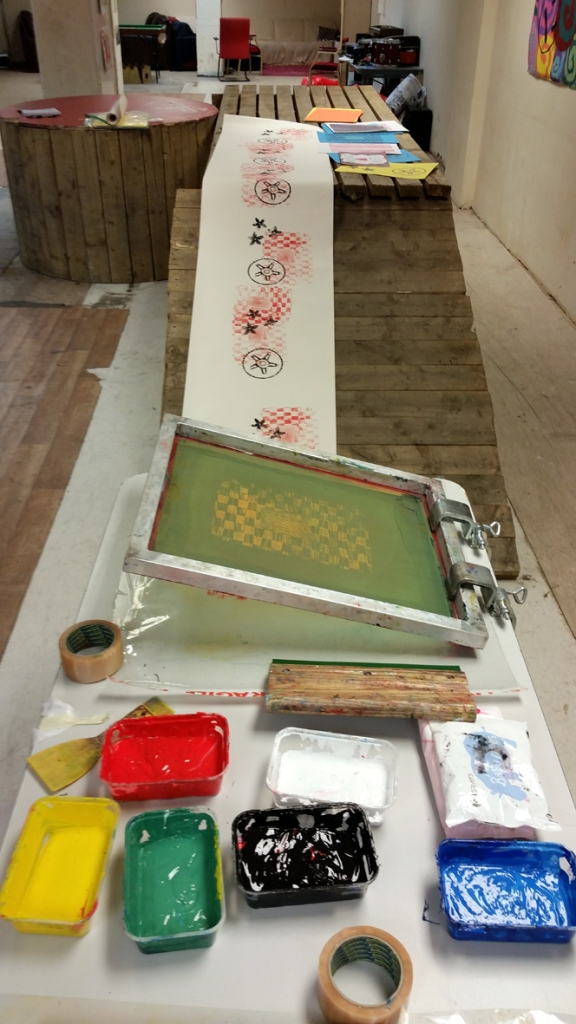 Setting up screen printing for the evening